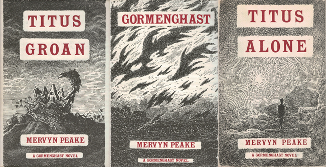 <b>    Peake, Mervyn:   The 'Gormenghast' trilogy</B>, 3 vols, Methuen/Overlook, 1982 h/cs